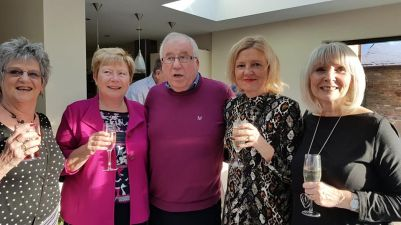Group Photo of Hart lions having a wee galss of prossecco